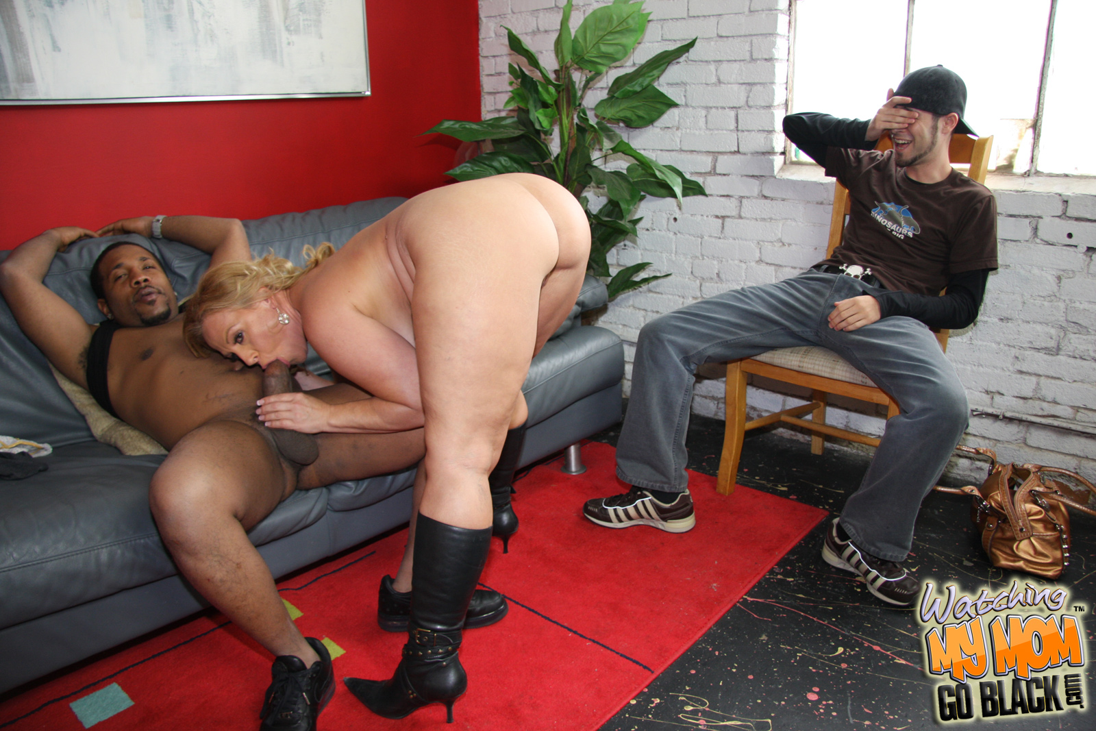 Son watching white mom getting fucked by big black cock