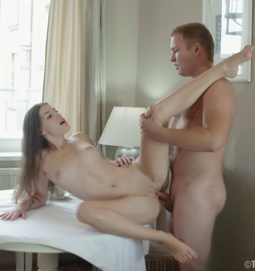 image Blonde gets her mouth fucked hard by guys big dick