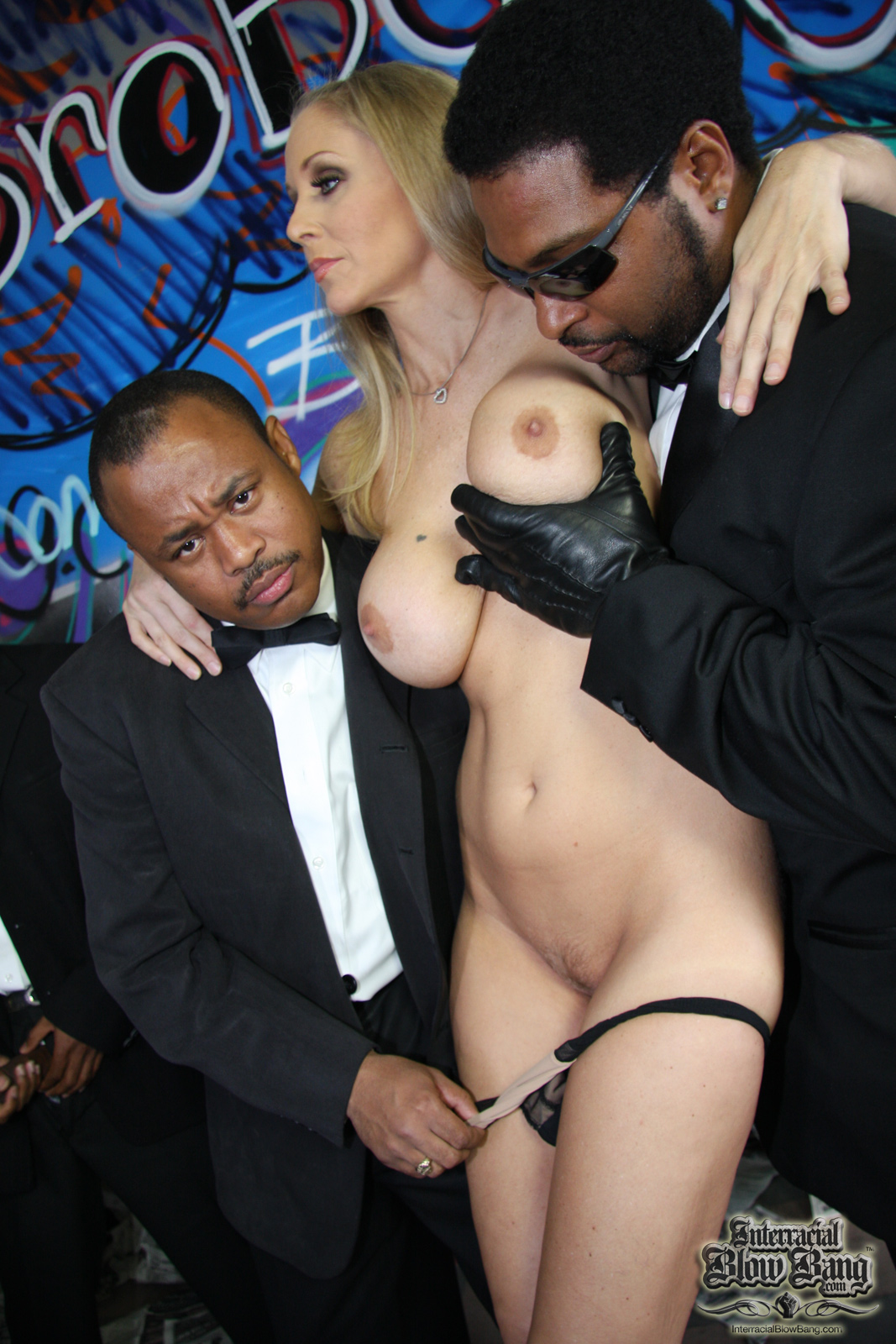 Nasty interracial guys creamy gangbang